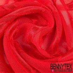 Mousseline Dévoré Polyester Motif Ondulé Couleur Rouge