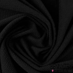 Maille Polyester Gaufrée Zizgag Couleur Noir
