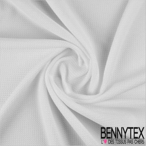 Maille Polyester Gaufrée Zigzag Couleur Blanc