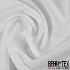 Maille Polyester Gaufrée Zizgag Couleur Blanc