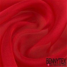 Mousseline de Soie Uni Couleur Rouge