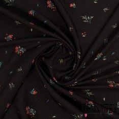 Fibranne Polyester Imprimé Petits Bouquets Fond noir