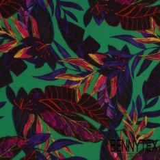 Crêpe Fibranne Viscose Motif Fleurs Exotique Fond Vert