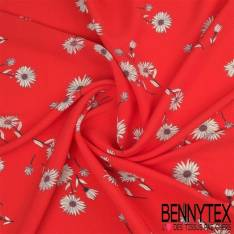 Crêpe Fibranne Viscose Motif Fleurs Blanches Fond Rouge