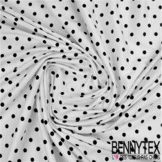 Jersey Viscose Imprimé Pois Noir Sur Fond Blanc