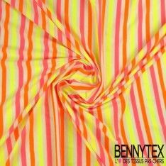 Jersey Polyester Marinière Couleur Fluo Orange, Rose Et jaune