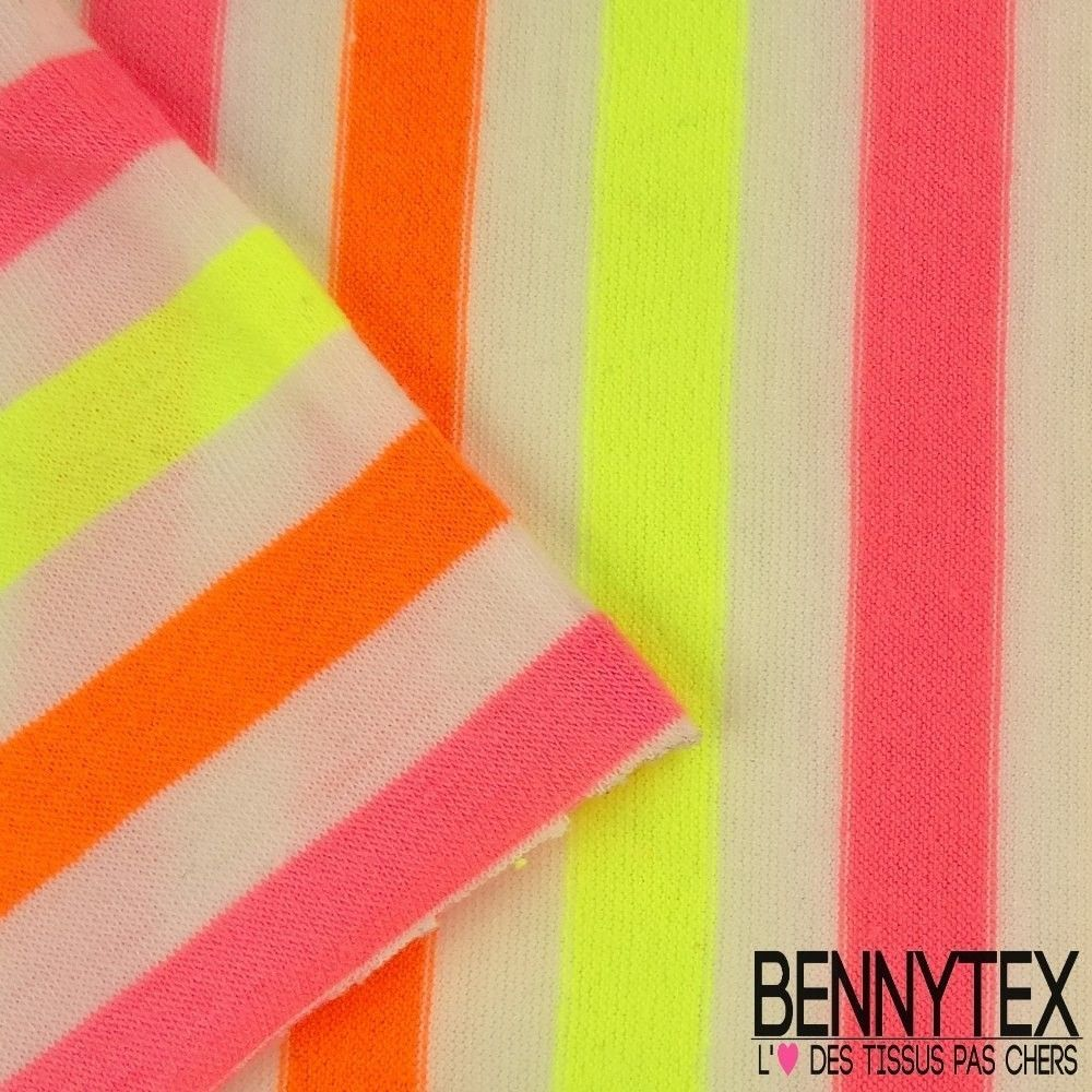 Jersey Polyester Marinière Couleur Fluo Orange, Rose Et Jaune ...