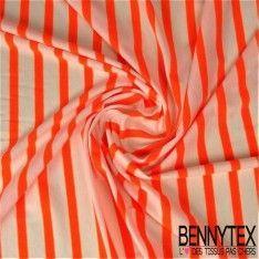 Jersey Polyester Marinière Couleur Orange