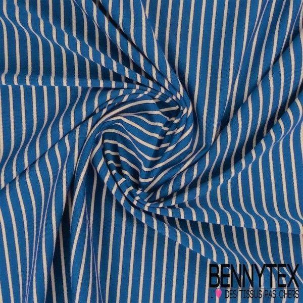 Jersey Viscose Marinière Rayures Lurex Bleu foncé et Blanc