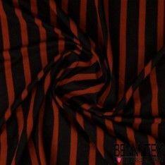 Jersey Viscose Marinière Rayures Orange Citrouille / Noir