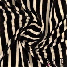 Jersey Viscose Marinière Rayures Noir et Blanc