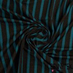 Jersey Viscose Marinière Rayures Noir et Bleu Canard