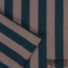 Jersey Viscose Marinière Rayures Bleu charron et Sepia