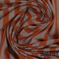 Jersey Viscose Marinière Rayures Orange brûlée et Sepia