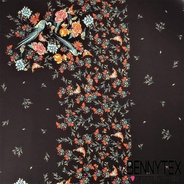 Jersey Viscose Imprime En Panneau Motif Fleurs, Oiseaux Et Papillons