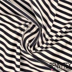 Toile Coton Polyester Marinière Oblique Couleur Bleu Marine blanc