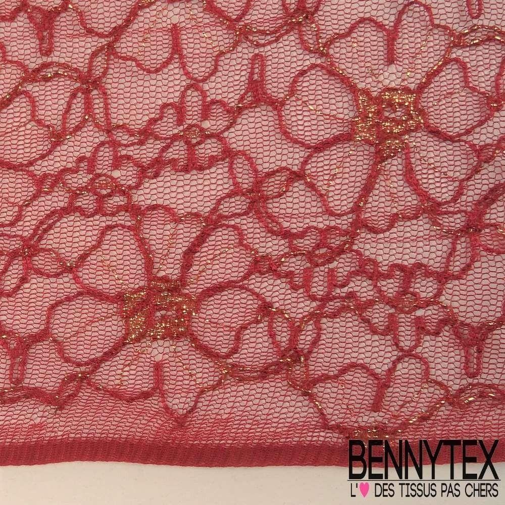 dentelle lurex fleurs haut de gamme couleur bordeaux bennytex vente de tissus pas cher au m tre. Black Bedroom Furniture Sets. Home Design Ideas