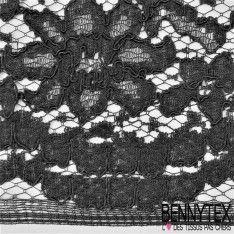 Dentelle Bloquée au crochet Motif à fleurs Couleur Noir