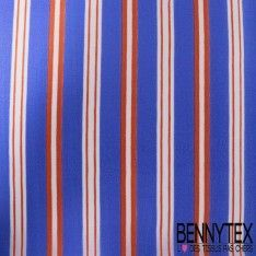 Tissu Organdi de Soie Rayures Bleu Et Rouge