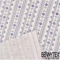 Toile de Lin Imprimé Motif Rayures Fond Blanc