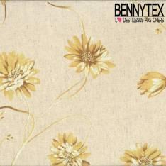 Toile Lin Coton Imprimé Fleurs Jaunes Pale Fond Lin