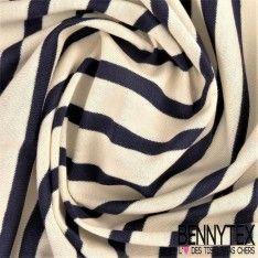 Jersey Coton Marinière Couleur Bleu Marine N°40