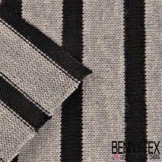 Jersey Coton Marinière Côte Epaisse Couleur Gris / Noir