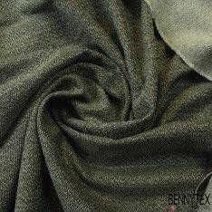 Toile de Coton Natté Couleur Blanche et Gris Chiné