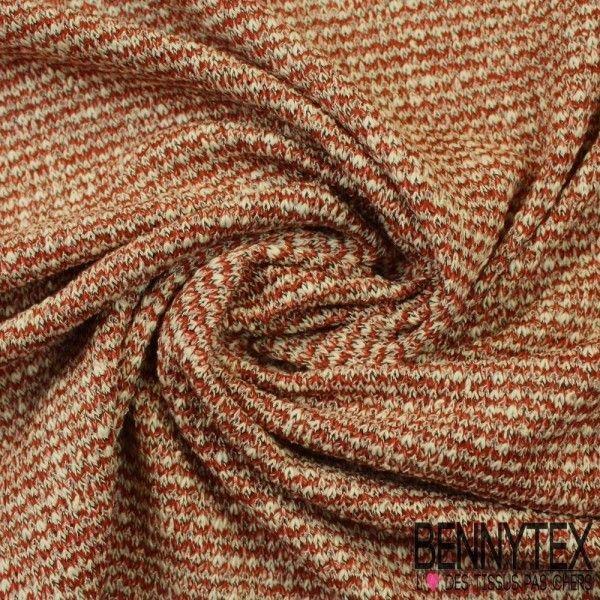 Maille Tricoté Acrylique Polyester Couleur Ton Rouille, Blanc...