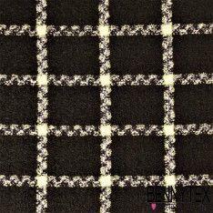 Brocart Polyester Imitation Laine Bouillie Quadrillé Couleur Noir