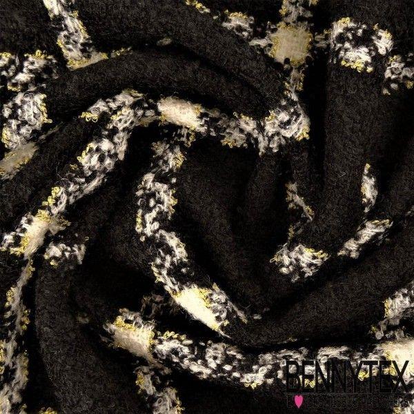 Lainage Polyester effet Laine Bouillie Quadrillé Couleur Noir