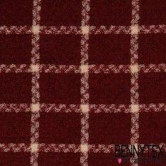 Lainage Polyester effet Laine Bouillie Quadrillé Couleur Bordeaux