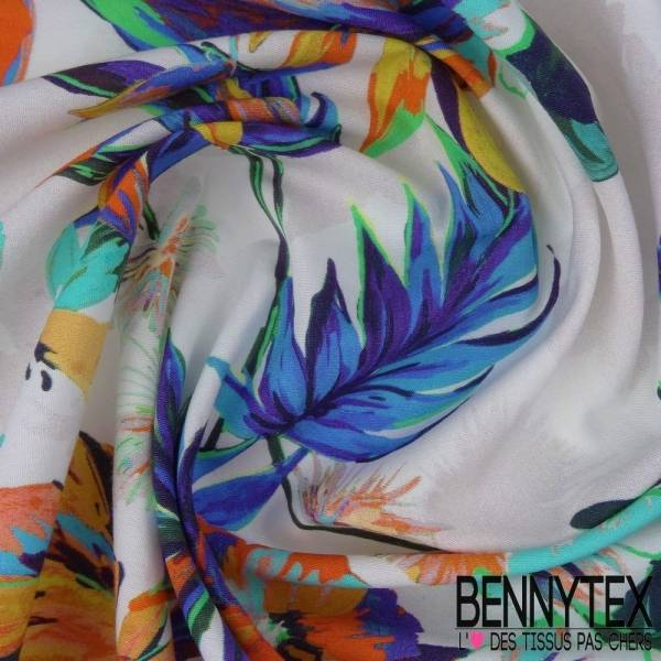 Coton Imprimé Motif Fleurs Exotique Sur Fond Blanc Cassé
