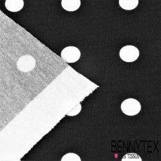 Jersey Viscose Imprimé Pois Blanc Sur Fond Noir