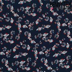 Crêpe Polyester Imprimé Eventail sur fond Bleu Marine