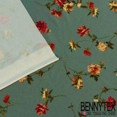 Jersey Cristal Polyester Imprime Fleurs Fond Vert Sauge