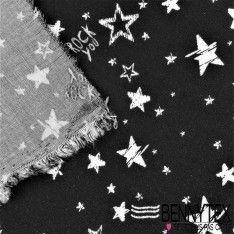 Fibranne Viscose Imprimé Motif Etoile Blanche Fond Noir