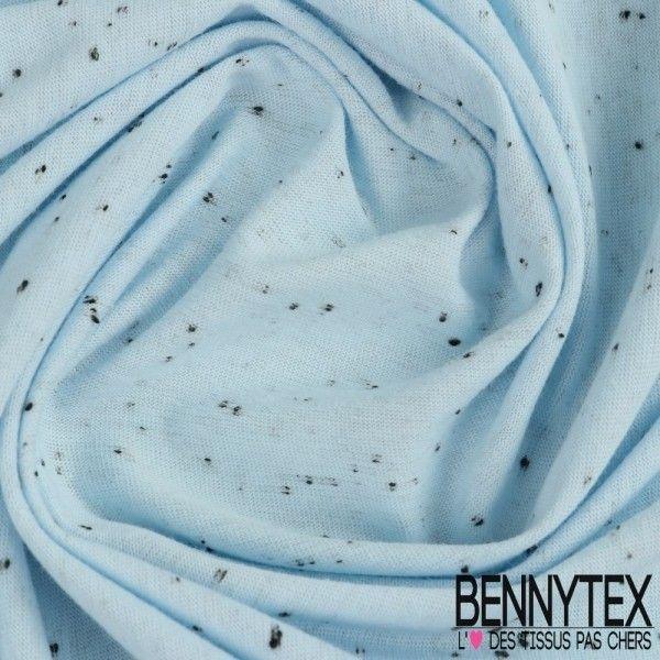 Jersey Coton Moucheté Couleur Bleu Azurin