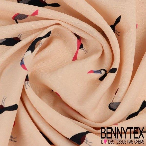 Fibranne Polyester Imprimé Toucan fond Rose Pale