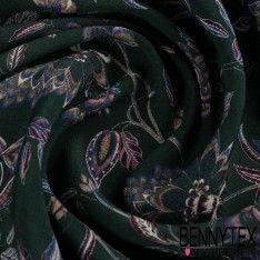 Crêpe Viscose Imprimé Fleurs Ton Violet fond Vert Sapin