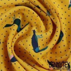 Fibranne Polyester Imprimé Toucan Fond Jaune Ambre