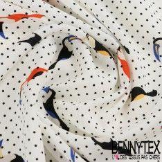 Fibranne Polyester Imprimé Toucan Fond Blanc