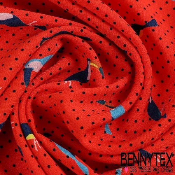 Fibranne Polyester Imprimé Toucan Fond Rouge