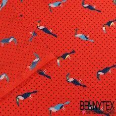 Fibranne Polyester Imprimé Toucan Fond Rouge Corail