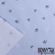 Coton Imprimé Motif Mariniére Bleu Ciel et Petits Voiliers