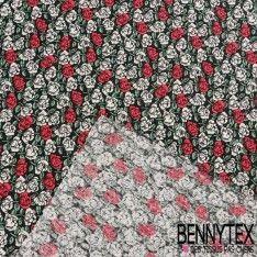 Bourrette de Soie Imprimé Motif Petites Roses Rouges et Blanches