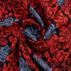 Bourrette de Soie Imprimé Motif Grande Roses Rouges