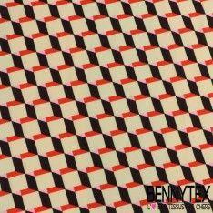 Double Crêpe Polyester Imprimé Motif Cubique