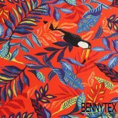 Jersey Viscose imprimé Motif Fleur et Toucan