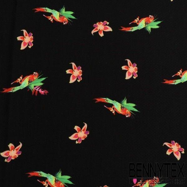 Fibranne Viscose Façon Plumetis Imprimé Perroquet Fond Noir